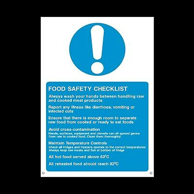 Food Safety Checklist Signs & Stickers All Sizes! All Materials! Free P+P (Fp43)