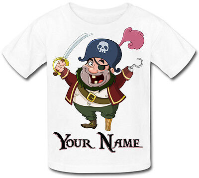 Pirate Personalised Kids T-Shirt Great Gift For Any Child & Named Too