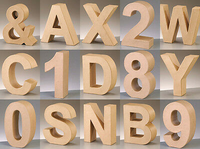 1 x 17.5cm Large Paper Mache 3D Cardboard Letters Shapes Signs Alphabet Numbers