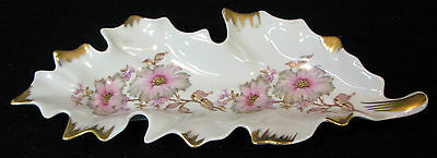 11 in. long Mitterteich Bavaria leaf shaped candy dish with pink flowers
