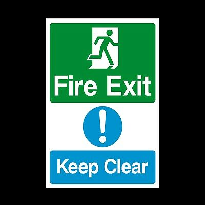 Fire Exit Keep Clear Warning & Safety Plastic Sign or Sticker - (MISC13)