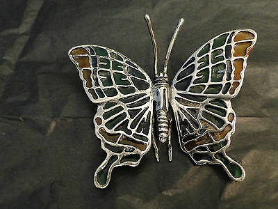 MINIATURE  VERY RARE BUTTERFLY PLIQUE A JOUR  -STERLING SILVER 925-