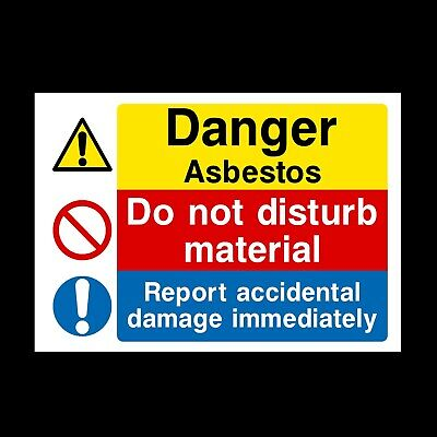 Danger Asbestos Signs & Stickers All Sizes! All Materials! Free P+P (Mp30)