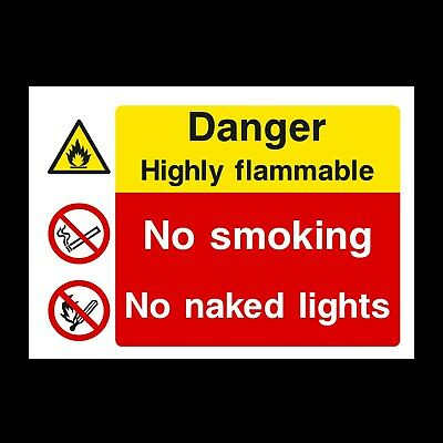 Highly Flammable Signs & Stickers All Sizes! All Materials! Free P+P (Mp33)