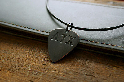 Hand Made Etched Copper Guitar Pick Necklace with Avenged Sevenfold