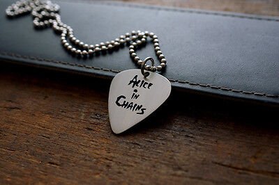 Hand Made Etched Nickel Silver Guitar Pick Necklace with Alice in Chains