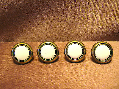 Vintage Cabinet,Box,Drawer Pulls Handle Knob Hardware 4 Brass &  White Porcelin