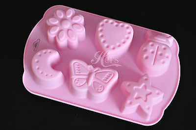 Silicone Soap Mold Jelly Mold - Butterfly Ladybug Heart Star Crescent Flower