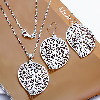 Wholesale Solid 925Sterling Silver SP Leaf Charm Lady Earrings/Necklace Set S3
