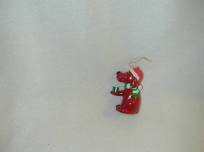 CHRISTMAS THE BIG RED DOG BLOW MOLDED  ORN W/GIFT-NEW