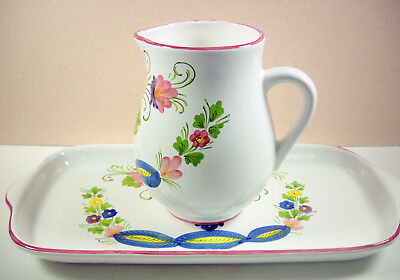 Italian Floral Pitcher and Tray Italy Art Pottery Hand Painted Nordstrom