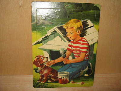 Vintage Saalfield Frame Tray Puzzle 1950's Boy Painting Dog Puppy House #7013