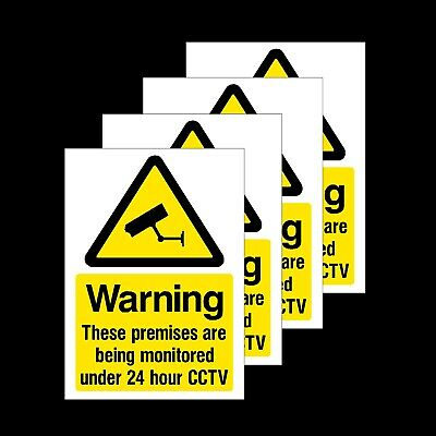 CCTV Warning These Premises are Monitored - Pack of 4 - Plastic Sign or Sticker