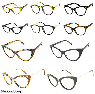 Women's Pointy Hot Tip Pointed Fashion Mod Office Cat Eye Clear Lens Glasses VTG