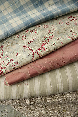 Antique Vintage French fabrics materials ~ WOOL + hemp + toile project bundle