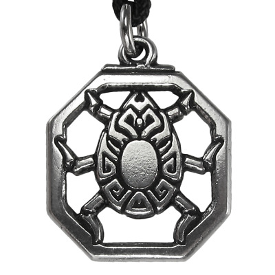 Scarab Pewter Pendant - Egyptian Kemetic Jewelry - Pagan Wiccan Wicca Necklace