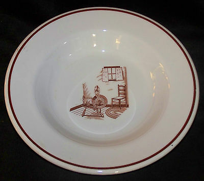 """Iroquois China Ironstone Brown Colonial Pattern 9"""" Rimmed Soup Bowl (4 Avail)"""