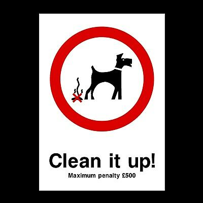 Dog Fouling - Clean Signs & Stickers All Sizes! All Materials! Free P+P (Ppa15)