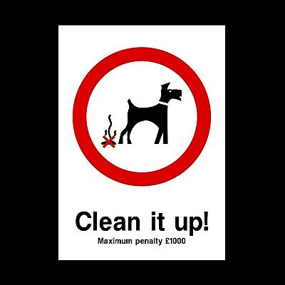 Dog Fouling - Clean Signs & Stickers All Sizes! All Materials! Free P+P (Ppa16)