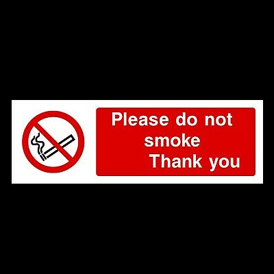 Do not Smoke - Thank You 300x100mm Rigid Plastic Sign OR Sticker (PS26)