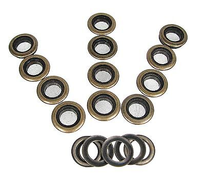 12pc. 1-inch Outside Dia. Screened Antique Brass Grommets w/ Washers