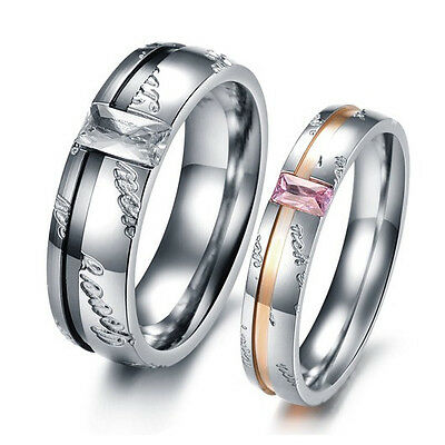 Shining Crystal Promise Ring Lovers Couple Wedding Party Titanium Steel JZ133