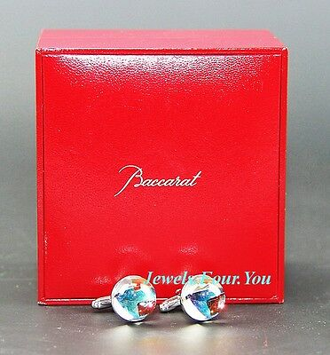 BACCARAT ECLIPSE CUFFLINKS .925 STERLING SILVER CLEAR IRIDESCENT NEW FRANCE