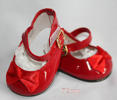Red Patent Mary Jane Shoes w/ Bow 72mm ~ REBORN DOLL SUPPLIES