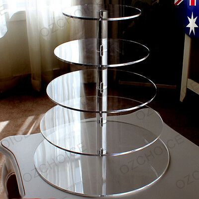 5 Tier Cupcake Cup Cake Stand Display Maypole Round Clear Acrylic Wedding Party