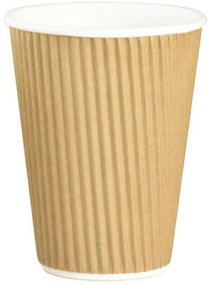 50 x 12oz Kraft 3Ply Insulated Brown Paper Cups Tea Coffee Hot Drinks Disposable