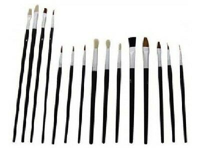 15 Piece Artist Paint Brush Set Flat / Tipped Different Size & Length Brushes UK
