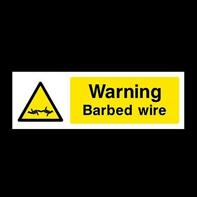 WARNING BARBED WIRE SIGNS & STICKERS ALL MATERIALS 300x100 FREE P+P (S32)