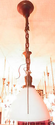 Industrial Age Pendulum Light W/ Unmarked Socket And White Shade 5464