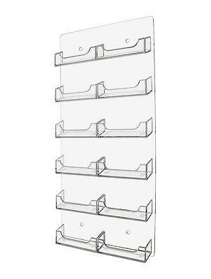 NEW Clear 12 Pocket Business Card Holder Acrilyc Horizontal Wall Mount