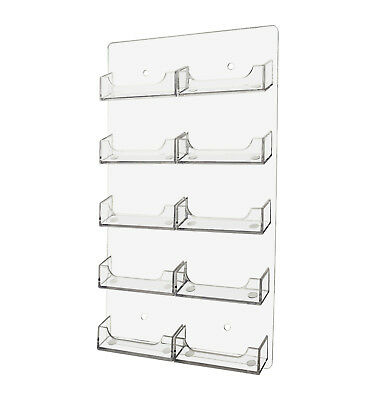 NEW Clear 10 Pocket Business Card Holder Acrilyc Horizontal Wall Mount