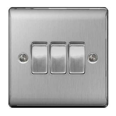 BG NBS43 Triple 3 Gang Light Switch Brushed Steel / Satin Chrome 10A 1 or 2 way