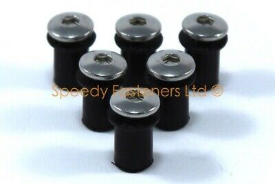 6x Highest Quality Screen Rubber Nuts & Bolts Motorcycle Windscreen Fixings m5