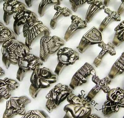 Wholesale jewelry lots 10pcs Vintage Tibet silver Men's Rings  New free shipping