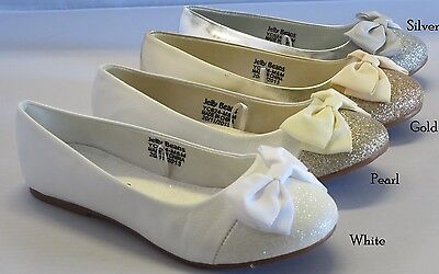 Jelly Bean Girl Suede Flats w/Glitter & Bow (GIRO) Youth Flower Girl Dress Shoes