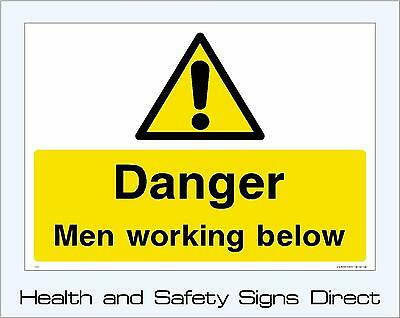 Danger Men Working Below Signs & Stickers Large Sizes! Thick Materials! (Css26)