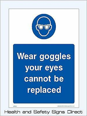 Wear Goggles Signs & Stickers Large Sizes! Thick Materials! (Mppe25)