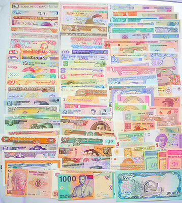 102 Different world paper money collection, UNC genuine banknotes.