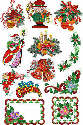 "ABC Designs Magic of Christmas 12 Machine Embroidery Designs Set for 5""x7"" hoop"