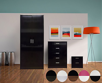 High Gloss 3 Piece Bedroom Furniture Set Wardrobe Chest Bedside 6 Colour Options