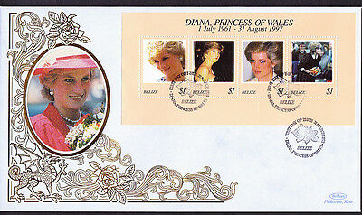GB Diana Princess of Wales Benham Silk Belize Postmark