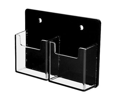 2 Pocket Vertical Business Card Holder Wall Mount Black & Clear Acrilyc