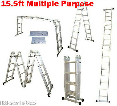 15.5' Platform Multi-Purpose Home Commercial Folding Aluminum Ladder w/ 2 Plate
