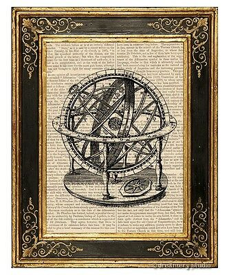 Armillary Sphere #3 Art Print on Antique Book Page Vintage Illustration Globe