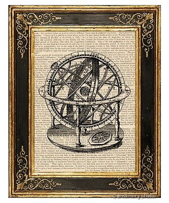 Armillary Sphere #3 Art Print on Vintage Book Page Home Office Decor Gifts