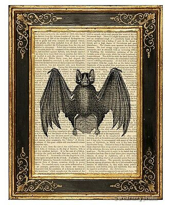 Bat #2 Art Print on Vintage Book Page Home Office Decor Wall Hanging Gifts